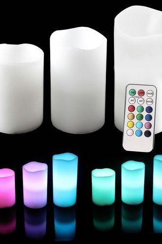 Brand New LED Flameless Candles With Remote Timer 3 Pc Set